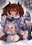2girls :< absurdres bangs bird_tail brown_eyes brown_hair brown_jacket commentary commentary_request covering_ears eurasian_eagle_owl_(kemono_friends) expressionless fur_trim grey_hair hair_between_eyes hair_wings highres jacket kaamin_(mariarose753) kemono_friends lap_pillow looking_at_viewer multicolored_hair multiple_girls northern_white-faced_owl_(kemono_friends) pantyhose seiza sitting tail tears white_hair white_jacket white_legwear window