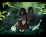 1boy 1girl aihara_fuu bamboo black_hair blurry book breasts bubble bug butterfly calligraphy_brush cleavage commentary creature dark depth_of_field fish flower forest grass hakama highres index_finger_raised insect japanese_clothes letterboxed long_hair looking_at_another magic nature open_mouth original outdoors paintbrush pigeon-toed pond red_eyes short_hair silhouette sitting stone_lantern tabi tree water zouri