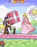 blue_eyes blue_hair cape crown dress elbow_gloves fire_emblem fire_emblem:_souen_no_kiseki fire_emblem_path_of_radiance gift gloves headband holding holding_gift ike king_dedede kirby_(series) long_hair mario nintendo princess_peach super_mario_bros. super_smash_bros.