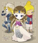 bandages blonde_hair blue_eyes braid brown_hair chibi elbow_gloves gloves long_hair mask multiple_persona nintendo ocarina_of_time pointy_ears princess_zelda reverse_trap scarf sheik surcoat tetra the_legend_of_zelda tiara triple_persona twilight_princess wind_waker wink