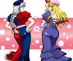 ass azuki_osamitsu braid dress fan hat heart ribbon ribbons shouzu_choukou single_braid touhou trigram yagokoro_eirin yakumo_yukari