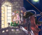 1girl balcony blonde_hair blue_eyes blush bow cape castle couple dress gloves hair_bow hawkeye head_wings headwings long_hair mask moon nakamasomo riesz rope seiken_densetsu seiken_densetsu_3 very_long_hair