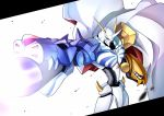 blue_eyes blurry cape commentary_request depth_of_field digimon digimon_adventure digimon_adventure:_bokura_no_war_game hawe_king non-human omegamon simple_background turret white_background wind