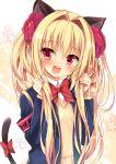1girl :d animal_ears armband bangs blazer blonde_hair blush bow bowtie cat_ears cat_tail character_request commentary_request copyright_request eyebrows_visible_through_hair flower hair_flower hair_intakes hair_ornament holding holding_hair huei_nazuki jacket long_hair long_sleeves looking_at_viewer open_mouth red_bow red_eyes red_flower red_neckwear round_teeth smile solo star sweater tail tail_bow teeth twintails upper_body upper_teeth virtual_youtuber