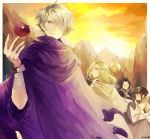 2boys 2girls apple bag blonde_hair bracelet brown_hair cloak cyrus_(octopath_traveler) dress food fruit gloves hair_over_one_eye hat jewelry long_hair multiple_boys multiple_girls octopath_traveler okii ophilia_(octopath_traveler) ponytail scarf short_hair simple_background smile staff therion_(octopath_traveler) tressa_(octopath_traveler) white_hair