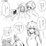 2boys 4girls all_might alternate_hairstyle ashido_mina black_sclera blush boku_no_hero_academia comic embarrassed hagakure_tooru hair_down hk_(nt) horns invisible kendou_itsuka long_hair midoriya_izuku monochrome multiple_boys multiple_girls short_hair sketch speech_bubble sweatdrop translation_request uraraka_ochako