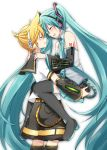 1boy 1girl absurdly_long_hair belt black_footwear black_legwear black_shorts black_skirt black_sleeves blonde_hair blue_hair blue_nails blue_neckwear blush boots carrying closed_eyes couple detached_sleeves floating_hair grey_shirt hands_on_another's_shoulders hatsune_miku headset kagamine_len kneehighs long_hair long_sleeves miniskirt nail_polish necktie open_mouth pleated_skirt sailor_collar shirt short_sleeves shorts simple_background skirt sleeveless sleeveless_shirt smile sudachi_(calendar) thigh-highs thigh_boots twintails very_long_hair vocaloid white_background zettai_ryouiki