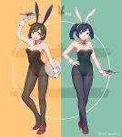 2girls alternate_costume animal_ears arm_up ass_visible_through_thighs bangs bare_arms bare_shoulders black_hairband black_legwear blue_eyes blue_hair blush breasts brown_eyes brown_hair brown_legwear bunnysuit cleavage commentary_request dated detached_collar eyebrows_visible_through_hair fake_animal_ears fingernails full_body green_leotard green_nails hair_ornament hairband high_heels highres hiryuu_(aircraft_carrier) hiryuu_(kantai_collection) holding holding_tray kantai_collection leotard looking_at_viewer medium_breasts multiple_girls nail_polish nakaaki_masashi pantyhose red_footwear ship short_twintails souryuu_(aircraft_carrier) souryuu_(kantai_collection) standing strapless strapless_leotard thigh_gap thighband_pantyhose toy_airplane tray twintails twitter_username two-tone_background watercraft white_hairband wrist_cuffs