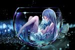 1girl absurdres bangs barefoot black_background blue_flower blue_hair closed_eyes commentary_request cup drinking_glass fallen_heaven flower from_side hair_between_eyes hands_up highres knees_up long_hair nude original partially_submerged profile solo transparent very_long_hair water