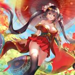 1girl ahoge asanogawa_(tutufcc) azur_lane bangs bare_shoulders black_hair black_legwear blue_sky blush breasts cleavage clouds collarbone day detached_sleeves eyebrows_visible_through_hair feathers floating_hair flower gold_trim hair_between_eyes hair_flower hair_ornament hair_ribbon highres holding holding_umbrella huge_breasts japanese_clothes kimono large_breasts leaves_in_wind long_hair looking_at_viewer obi off_shoulder oriental_umbrella outdoors panties parted_lips red_eyes red_kimono red_ribbon ribbon sash sidelocks sky smile solo striped striped_ribbon taihou_(azur_lane) thigh-highs twintails umbrella underwear very_long_hair walking white_panties wide_sleeves wind wind_lift