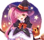 1girl ;d black_capelet black_gloves black_hat bow bowtie broom capelet character_request cowboy_shot frilled_skirt frills gloves hat hat_belt head_tilt holding holding_broom leaning_forward long_hair nameneko_(124) one_eye_closed open_mouth pink_hair pumpkin side_ponytail skirt smile solo standing star very_long_hair white_background white_skirt witch_hat yellow_eyes
