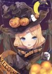 1girl abigail_williams_(fate/grand_order) absurdres bangs black_jacket blonde_hair blue_eyes commentary crossed_bandaids english_commentary eyebrows_visible_through_hair fate/grand_order fate_(series) glowing hair_bun halloween hat head_tilt heart heroic_spirit_traveling_outfit highres jack-o'-lantern jacket long_hair long_sleeves looking_at_viewer medjed open_mouth parted_bangs silk sleeves_past_fingers sleeves_past_wrists solo spider_web star upper_body wavy_mouth witch_hat yingxiong_abubu