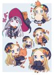 !! 1girl abigail_williams_(fate/grand_order) bangs black_dress black_hat black_panties blonde_hair blue_eyes bow chibi dress fate/grand_order fate_(series) grey_background hair_bow hat heart highres keyhole long_hair looking_at_viewer multiple_persona object_hug orange_bow panties parted_bangs polka_dot polka_dot_bow purple_bow purple_hat red_eyes scared sleeves_past_wrists smirk sparkling_eyes stuffed_animal stuffed_toy surprised symbol-shaped_pupils tearing_up teddy_bear totatokeke translated underwear very_long_hair wavy_mouth white_bloomers white_hair white_skin witch_hat