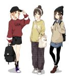 3girls :d adjusting_clothes adjusting_hat bag bangs baseball_cap beanie beige_sweater black_backpack black_eyes black_footwear black_hair black_hat black_legwear black_pants black_shorts blonde_hair boots brown_eyes brown_footwear clothes_writing full_body grey_sweater hair_bun hairband hat holding_backpack holding_strap jewelry looking_at_viewer multiple_girls open_mouth original pants pantyhose pendant plaid plaid_pants purple_footwear red_shirt shiina_kuro shirt shoes short_hair shorts shoulder_bag sidelocks smile sneakers socks standing sweater sweatshirt twintails watch watch white_background