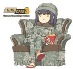 1girl beanie black_hair brown_eyes camouflage chair copyright_name crossed_arms easy_chair hat kfc legs_crossed military military_uniform neck_pillow no_pupils open_mouth original simple_background sitting slippers soldier solo tantu_(tc1995) uniform us_army white_background