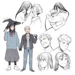 1boy 1girl artist_name black_gloves black_hair black_jacket blush fang fingerless_gloves gloves hand_holding hat hug jacket kiss leather leather_jacket long_hair miyuli multicolored_hair original pointing pointing_at_self red_eyes red_ribbon ribbon sweater two-tone_hair vampire white_hair witch witch_hat