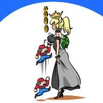 /\/\/\ 1boy 1girl afterimage black_dress blue_earrings borrowed_design bouncing_breasts bowsette bracelet breasts coin collar commentary crown dress faceless faceless_female from_side gameplay_mechanics high_heels jewelry jumping kogane_(staygold) large_breasts long_dress lowres mario mario_(series) motion_blur motion_lines new_super_mario_bros._u_deluxe nintendo sparkle spiked_armlet spiked_bracelet spiked_collar spiked_shell spikes standing strapless strapless_dress super_crown super_mario_bros. sweatdrop turtle_shell
