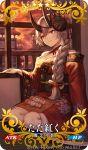 1girl blush braid card_(medium) commentary_request craft_essence dango fate/grand_order fate_(series) food fou_(fate/grand_order) fujimaru_ritsuka_(female) indoors japanese_clothes kimono long_hair looking_out_window mash_kyrielight mashu_003 mask mask_on_head obi official_art oni_horns red_eyes red_kimono riyo_(lyomsnpmp)_(style) sash short_kimono silver_hair tomoe_gozen_(fate/grand_order) wagashi
