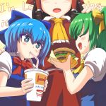 +_+ 3girls ascot bangs blue_bow blue_dress blue_eyes blue_hair blush bow bowtie brand_name_imitation breasts cirno closed_eyes commentary_request cowboy_shot cup daiyousei dress drinking drinking_straw english eyebrows_visible_through_hair facing_another food food_on_face frilled_ascot frills from_side hair_between_eyes hair_bow hair_tubes hakurei_reimu hamburger hand_on_another's_head hand_on_another's_shoulder hands_up head_out_of_frame height_difference highres holding holding_cup holding_food large_breasts long_hair looking_at_another mcdonald's multiple_girls one_side_up open_mouth pinafore_dress profile puffy_short_sleeves puffy_sleeves red_bow red_neckwear red_skirt shirt short_hair short_sleeves sidelocks skirt skirt_set tada_no_nasu touhou upper_body white_shirt wing_collar yellow_background yellow_bow yellow_neckwear