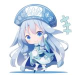 >:) +++ 1girl ainu_clothes alternate_color bangs beni_shake blue_footwear blue_hat blush chibi closed_mouth commentary_request eyebrows_visible_through_hair fate/grand_order fate_(series) full_body fur-trimmed_boots fur_trim gloves hair_between_eyes hand_up hat illyasviel_von_einzbern leaning_to_the_side long_hair long_sleeves pantyhose shadow silver_hair sitonai smile solo standing v-shaped_eyebrows very_long_hair white_background white_gloves white_legwear wide_sleeves