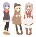 3girls :d arms_behind_back bangs black_legwear blonde_hair blue_eyes blush boots braid brown_cardigan brown_dress brown_footwear cardigan closed_mouth dress eyebrows_visible_through_hair flower fur-trimmed_boots fur_trim green_eyes grey_skirt hair_between_eyes hair_flower hair_ornament hands_up head_tilt knee_boots light_brown_hair long_hair long_sleeves looking_at_viewer multiple_girls open_mouth orange_scarf original pantyhose purple_hair red_flower scarf side_braid single_braid skirt sleeves_past_wrists smile standing very_long_hair violet_eyes white_background white_dress yuuhagi_(amaretto-no-natsu)