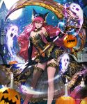 1girl ;d animal_ears bare_shoulders bare_tree black_dress black_gloves bow candle castle cross dress elbow_gloves fishnet_legwear fishnets full_body full_moon garter_straps ghost gloves holding holding_scythe jack-o'-lantern long_hair moon neck_bell night night_sky official_art one_eye_closed open_mouth orange_bow outdoors pink_hair scythe shingoku_no_valhalla_gate single_thighhigh sky smile solo standing thigh-highs thigh_strap tob tombstone tree very_long_hair