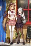 2girls ahoge animal_ear_fluff animal_ears bangs black_footwear black_legwear blush bow bowtie breast_pocket breasts brown_hair cat_ears cat_girl cat_tail closed_eyes closed_mouth collared_shirt day door dress_shirt eyebrows_visible_through_hair facing_viewer flower full_body grey_hair hair_ribbon hairband hand_on_another's_arm heart height_difference highres jakoujika long_hair long_sleeves low_twintails manhole medium_breasts multicolored multicolored_clothes multicolored_skirt multiple_girls open_toe_shoes orange_eyes original outdoors pantyhose pink_skirt plaid plaid_skirt plant pleated_skirt pocket polka_dot polka_dot_bow polka_dot_neckwear potted_plant red_bow red_hairband red_neckwear red_ribbon ribbon school_uniform shadow shirt shoes short_sleeves skirt small_breasts smile standing sunlight sweater_vest tail tail_ribbon thigh-highs twintails v white_legwear window wing_collar yellow_flower zettai_ryouiki