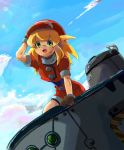 1girl :d belt blonde_hair blush breasts brown_gloves buttons cabbie_hat clouds commentary_request day dinef gloves green_eyes hat highres jacket long_hair looking_at_viewer open_mouth red_jacket rockman rockman_dash roll_caskett short_sleeves shorts sky smile solo
