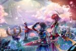 3girls animal_ears black_hair blush bodysuit breasts brown_hair byakko_(xenoblade) cat_ears closed_eyes fingerless_gloves gloves gonzarez hana_(xenoblade) hat highres homura_(xenoblade_2) long_hair medium_breasts multiple_girls nintendo niyah nopon open_mouth purple_hair red_eyes redhead rex_(xenoblade_2) short_hair smile tora_(xenoblade) xenoblade_(series) xenoblade_2 yellow_eyes