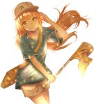 1girl absurdres blonde_hair blue_shirt brown_eyes character_name collarbone eyebrows_visible_through_hair fhilippedu flag floating_hair hat hataraku_saibou highres holding holding_flag long_hair looking_at_viewer platelet_(hataraku_saibou) shiny shiny_hair shirt short_shorts short_sleeves shorts simple_background smile solo standing very_long_hair white_background white_hat white_shorts