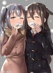 2girls bangs black_coat blurry blush brown_coat brown_hair buttons closed_eyes coat commentary_request crossed_bangs depth_of_field double-breasted duffel_coat eyebrows_visible_through_hair fake_facial_hair fake_mustache fur_collar grey_background grey_hair hair_between_eyes hand_up hatsushimo_(kantai_collection) holding juurouta kantai_collection kasumi_(kantai_collection) long_hair long_sleeves looking_at_viewer multiple_girls one_eye_closed outdoors pocket raised_eyebrows snowing upper_body winter winter_clothes winter_coat
