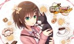 1girl :o animal bangs blush bow brown_hair cat chinese coffee collared_shirt commentary_request cookie cup eyebrows_visible_through_hair fingernails flower food green_eyes hair_between_eyes hair_bow hair_ornament hitsuki_rei holding holding_animal holding_cat hood hood_down hooded_jacket jacket long_sleeves looking_away open_clothes open_jacket original parted_lips pink_jacket red_ribbon ribbon saucer shirt sleeves_past_wrists solo spoon teacup translation_request two_side_up upper_body white_background white_flower white_shirt yellow_bow