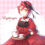 1girl ae-3803 argyle argyle_background black_gloves bow catbell413 character_name choker collarbone dress gloves hair_between_eyes hat hat_ribbon hataraku_saibou lolita_fashion red_bow red_dress red_hat redhead ribbon shiny shiny_hair short_hair smile solo yellow_eyes