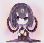 1girl bangs bare_shoulders black_legwear blush brown_background chibi closed_mouth cottontailtokki detached_sleeves fate/grand_order fate_(series) full_body hair_between_eyes headpiece heart horns long_hair long_sleeves looking_at_viewer navel oni oni_horns pointy_ears purple_hair shuten_douji_(fate/grand_order) shuten_douji_(halloween)_(fate) smile solo sparkle thigh-highs violet_eyes wide_sleeves