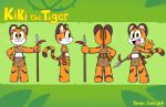 2016 3_toes 4_fingers anthro barefoot big_eyes brown_fur character_name child clothed clothing feline female flat_chested fur green_eyes hand_on_hip holding_object holding_weapon jungle jurassiczalar kiki_(jurassiczalar) loincloth looking_at_viewer mammal melee_weapon midriff model_sheet open_mouth orange_fur pink_nose polearm raised_tail side_view skimpy smile solo spear standing stripes tiger toes tongue toony tribal waving weapon whiskers white_fur young