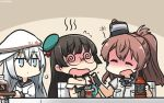 3girls @_@ ^_^ ^o^ alcohol aqua_hat beret black_gloves black_hair black_sailor_collar blue_eyes blush breast_pocket brown_hair chibi choukai_(kantai_collection) closed_eyes closed_eyes collarbone dated dress drunk fingerless_gloves flying_sweatdrops gloves hair_between_eyes hammer_and_sickle hamu_koutarou hat hibiki_(kantai_collection) highres kantai_collection long_hair long_sleeves multiple_girls open_mouth pocket remodel_(kantai_collection) sailor_collar sailor_shirt saratoga_(kantai_collection) shirt short_sleeves side_ponytail silver_hair single_glove sleeveless smile verniy_(kantai_collection) white_dress white_hat white_shirt
