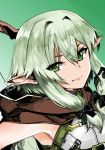 1girl armpits bow bow_(weapon) cloak crossbow elf fitz_(fita_is_the_smartest) goblin_slayer! green_background green_eyes green_hair hair_bow half-closed_eyes high_elf_archer_(goblin_slayer!) highres hood hooded_cloak looking_at_viewer pointy_ears simple_background sleeveless smile solo upper_body weapon