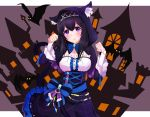 1girl animal_ears animal_hood bangs bat black_hair blue_dress blue_eyes blue_ribbon blush bow breasts capelet cat_ears cat_tail corset cross-laced_clothes diadem dress hair_between_eyes halloween highres hood idolmaster idolmaster_cinderella_girls large_breasts long_hair parted_lips paw_pose ribbon sagisawa_fumika sekia998 solo spider_web_print tail underbust