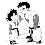 2boys amputee black_eyes black_hair boots brothers dougi dragon_ball dragonball_z expressionless eye_contact finger_to_mouth fingernails full_body greyscale hand_on_another's_head height_difference index_finger_raised kneeling light_smile long_sleeves looking_at_another lowres male_focus monochrome multiple_boys profile sad_smile scar short_hair siblings simple_background smile son_gohan son_goten spiky_hair standing time_paradox ttk_(ehohmaki) white_background