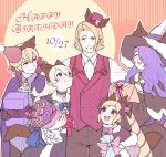 2boys 3girls alternate_costume blonde_hair blush bouquet bow box brother_and_sister brothers camilla_(fire_emblem_if) choker closed_eyes closed_mouth d0o00o0b earrings elise_(fire_emblem_if) female_my_unit_(fire_emblem_if) fire_emblem fire_emblem_if flower formal fur_trim gift gift_bag gift_box gloves hair_bow hair_over_one_eye happy_birthday hat holding holding_bouquet jewelry leon_(fire_emblem_if) long_hair long_sleeves marks_(fire_emblem_if) multicolored_hair multiple_boys multiple_girls my_unit_(fire_emblem_if) nintendo open_mouth parted_lips pointy_ears purple_hair short_hair siblings sisters smile top_hat twintails violet_eyes white_hair witch_hat