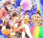 1girl 3boys :d ^_^ atom_(@tom) baseball_cap black_hair blonde_hair bouquet brown_hair closed_eyes closed_eyes clouds cloudy_sky commentary_request creature creatures_(company) crystal_(pokemon) earrings emerald_(pokemon) flat_chest flower game_freak gen_2_pokemon gold_(pokemon) green_eyes happy hat holding holding_bouquet jewelry long_hair long_sleeves medium_hair multiple_boys nintendo open_mouth petals pichu pokemon pokemon_(creature) pokemon_special rainbow short_sleeves silver_(pokemon) sky smile spiky-eared_pichu standing star star_(sky) star_earrings starry_sky twintails walking white_hat
