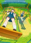 2girls brown_hair chain-link_fence dress fence from_above green_eyes happy legs_crossed long_hair looking_at_another looking_back multiple_girls neck_ribbon nobile1031 original outdoors park playing railing ribbon school_uniform shadow short_hair sitting smile standing standing_on_swing swing swing_set thigh-highs tree twintails uniform white_legwear