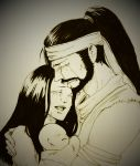 1girl 2boys absurdres baby bald black_hair blush character_request commentary commentary_request crying da-da family father_and_son group_hug hanzo_hasashi happy harumi_hasashi highres hug husband_and_wife jubei_hasashi kana_hasashi long_hair mortal_kombat mortal_kombat_x mother_and_son multiple_boys satoshi_hasashi scorpion_(mortal_kombat) sobbing streaming_tears tagme tearing_up tears very_long_hair