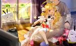 1boy 2girls admiral_(azur_lane) azur_lane bed black_hair blonde_hair chips cola commentary_request controller detached_sleeves eldridge_(azur_lane) food hat hbb highres long_hair military_hat multiple_girls one_eye_closed pillow potato_chips red_eyes remote_control sitting sitting_on_person slippers sunlight tagme tearing_up television the_ring thigh-highs twintails