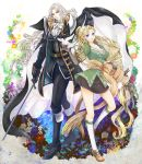1boy 1girl alucard_(castlevania) belt bird black_gloves blonde_hair blue_eyes boots cape castlevania castlevania:_symphony_of_the_night dove expressionless flower gloves hair_ribbon long_hair looking_at_viewer maria_renard miniskirt pale_skin ribbon silver_hair skirt smile standing sunasu-tamako sword very_long_hair weapon yellow_eyes