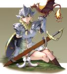 1girl arm_support blonde_hair blue_eyes breastplate breasts curvy dragon gauntlets heart helmet highres looking_down masao monster original parted_lips pauldrons sheath shield sitting skirt socks solo sword valkyrie weapon wyvern