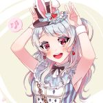 1girl :d alice_in_wonderland animal_ears armpits arms_up bang_dream! bangs black_hat black_neckwear blue_bow blue_hair blush bow bunny_pose chains cosplay dew_(dltmf2266) earrings fake_animal_ears frills hat hat_bow heart heart_earrings jewelry long_hair looking_at_viewer matsubara_kanon musical_note neck_ribbon one_side_up open_mouth playing_card_print rabbit_ears ribbon signature sleeveless smile solo spoken_musical_note striped top_hat upper_body vertical_stripes violet_eyes white_rabbit white_rabbit_(cosplay) wristband