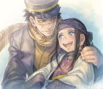 1boy 1girl ainu ainu_clothes asirpa bandanna black_hair blue_eyes brown_eyes coat earrings facial_scar golden_kamuy hand_on_another's_shoulder hat hoop_earrings jewelry long_hair looking_at_another military military_hat military_uniform open_mouth scar scarf short_hair smile sugimoto_saichi uniform upper_body wide_sleeves yamori_(stom)