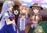 3girls :d bangs beard black_hat black_skirt blonde_hair blue_dress blue_hat blue_sky blush bow breasts brooch brown_coat brown_eyes brown_hair clenched_hands closed_eyes clouds coat commentary_request cowboy_shot crossed_arms day dress e.o. eyebrows_visible_through_hair facial_hair fedora frilled_shirt_collar frilled_sleeves frills genjii grey_hair hair_between_eyes hair_bow hat hat_bow hat_ribbon human_village_(touhou) jewelry kamishirasawa_keine long_hair long_sleeves looking_at_viewer maribel_hearn mob_cap multiple_girls mustache neck_ribbon neckerchief necktie open_clothes open_coat open_mouth outdoors pink_eyes profile puffy_short_sleeves puffy_sleeves purple_dress red_neckwear red_ribbon ribbon shirt short_hair short_sleeves sidelocks silver_hair skirt sky small_breasts smile spoken_x standing thick_eyebrows touhou touhou_(pc-98) turtle usami_renko very_long_hair white_bow white_hat white_shirt wide_sleeves wing_collar