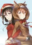 2girls animal_ear_fluff animal_ears animal_hood antlers back-to-back bangs bell black_gloves breasts christmas commentary_request fake_animal_ears fur-trimmed_sleeves fur_collar fur_trim gloves hat hatsushimo_(kantai_collection) hood hood_up juurouta kantai_collection locked_arms long_hair long_sleeves multiple_girls pom_pom_(clothes) raised_eyebrows red_hat reindeer_antlers reindeer_ears reindeer_girl reindeer_hood santa_costume santa_hat sketch_eyebrows small_breasts wakaba_(kantai_collection)